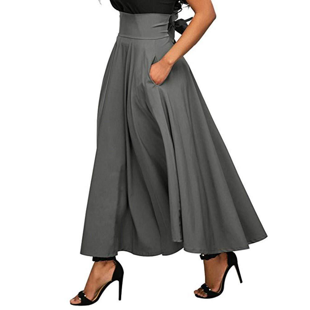 Ankola Long Skirt Women's High Waist Pleated A Line Long Skirt Belted Pure Colour Maxi Skirt (M, Dark Grey)
