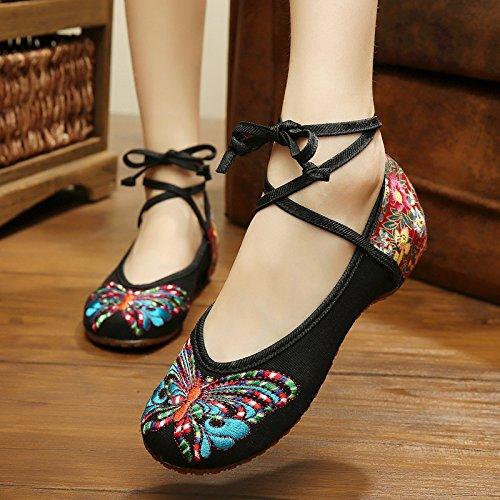 Y&M Zapatos bordados, lencería, estilo étnico, hembrashoes, moda, cómodo Black