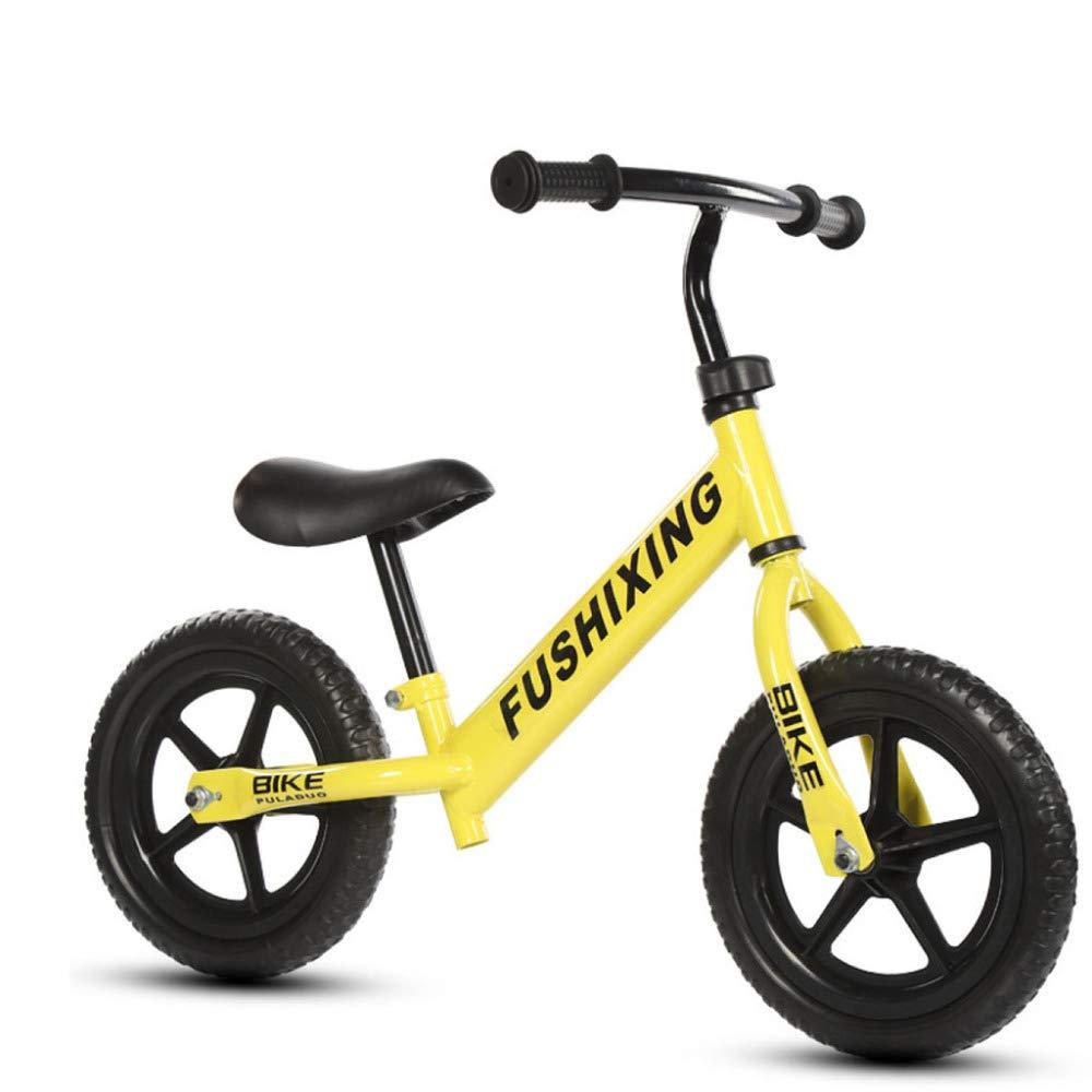 nuevo sádico amarillo JYY Equilibrar Bicicleta Sin Pedal con Marco De Acero Acero Acero Al Carbono, uomoillar Ajustable, Asientos Y Soporte Neumáticos Duraderos, Edades 3-6,blanco-12'' 12''  precioso