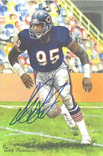 Richard Dent Autographed Chicago Bears Goal Line Art in blue