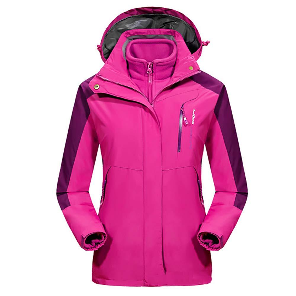 Damen Outdoor Jacke Zweiteiliges Set wasserdichte Winddichte Regenjacke Warme Ski-Jacken 3 In 1 Winterjacke Sports Jacke Warmer Mantel Skijacke Freizeitjacke Große Größen,Pink-5XL