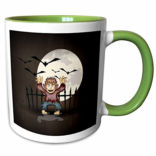 3dRose Dooni Designs Halloween Designs - Spooky Scary Werewolf Monster Spooking In Front Of Full Moon With Bats Halloween Illustration Design - 15oz Two-Tone Green Mug (mug_129777_12)