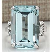 Promsup Women Fashion Jewelry 925 Sterling Silver Huge Aquamarine Wedding Band Ring Gift (6)
