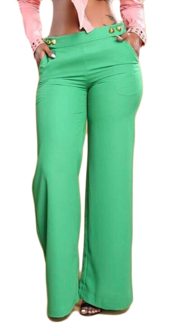 WSPLYSPJY Women's High Waist Solid Color Pockets Wide Leg Palazzo Long Pants Green XS