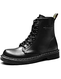 Women'S Round Toe Lase-up Ankle Boots Ladies Leather Combat Booties Fashion Martens Boots