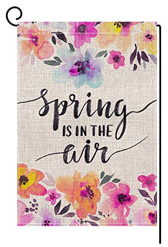 - BLKWHT Spring is in The Air Garden Flag Vertical Double Sided 12 x 18 Inch Flower Yard Decor