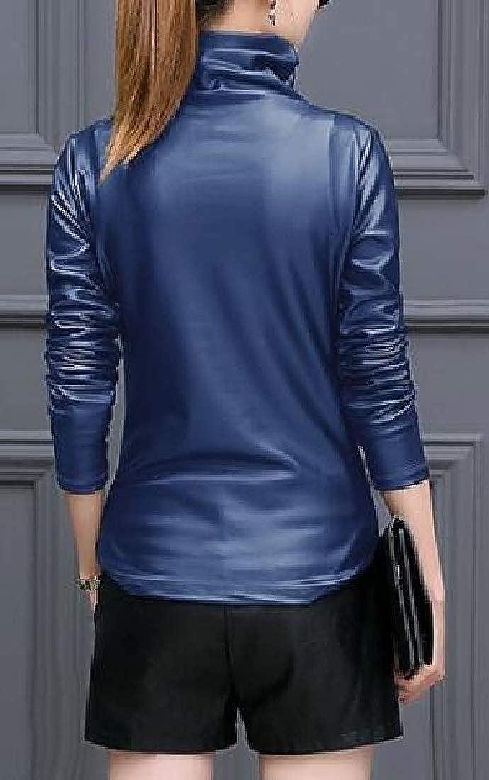 Fubotevic Womens Long Sleeve Faux Leather Fall /& Winter Fleece Turtleneck T-Shirt