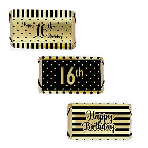 Black and Gold Sweet 16 Birthday Mini Candy Wrappers | Shiny Foil | 54 ()