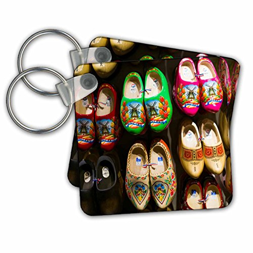 Danita Delimont - Markets - Netherlands, Amsterdam. Souvenir Dutch wooden shoes for sale. - Key Chains - set of 2 Key Chains (kc_277785_1) (Wooden Amsterdam Shoes)