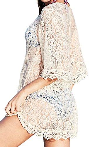 erdbeerloft - Damen Mini Strandkleid in Spitzenoptik, Weiß, One Size