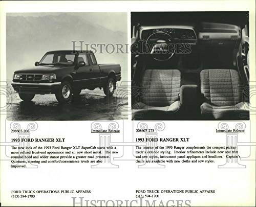 1993 Press Photo Interior and exterior of the 1993 Ford Ranger XLT. - mjc14549 - Historic ()