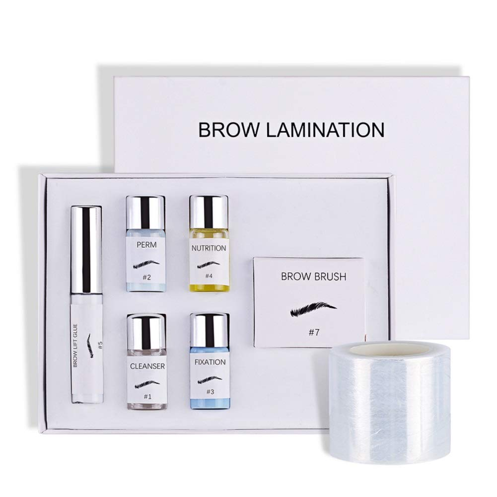 Brow Lamination Kit, Professional Brow Lift Kit, DIY Eyebrow Lamination Kit for Fuller Feathered Eyebrows, Eyebrow Salon at Home, Easy to Use, Long Lasting, Y Brush and Film Included