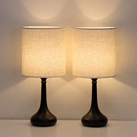 HAITRAL Bedside Table Lamps Set Of 2 With Fabric Shade Black /& Tan