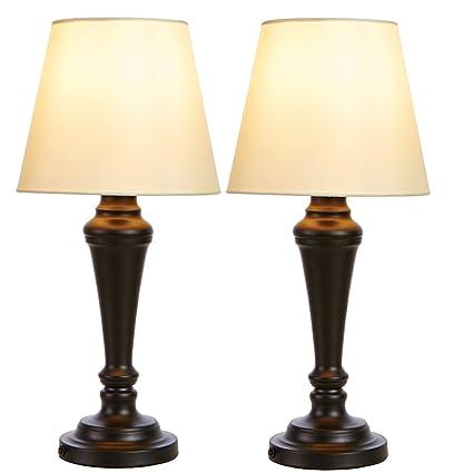 SOTTAE Black Base Metal Table Lamp, Beige Fabric Shade Luxurious Desk Lamp  For Bedroom Living
