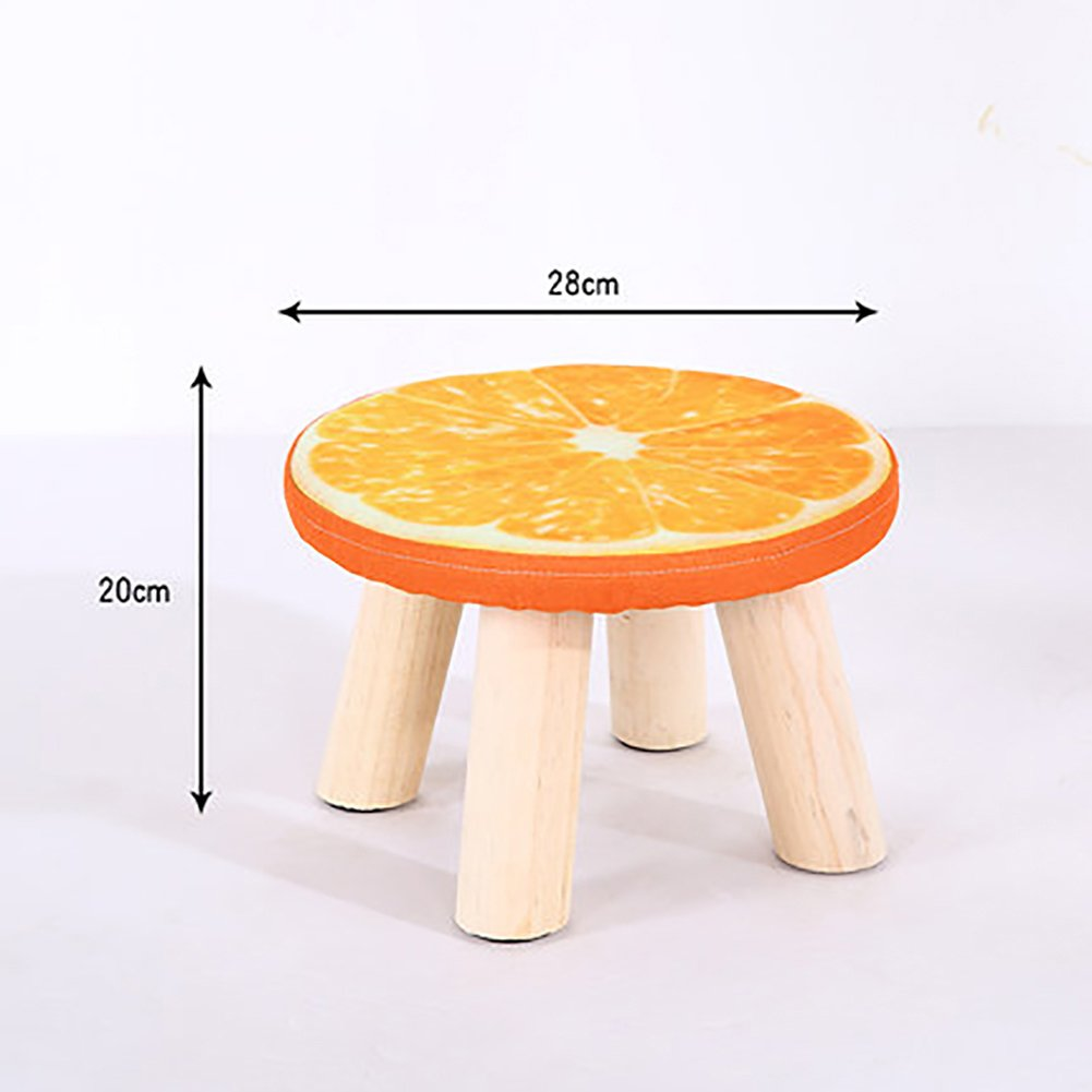D&L Solid Wood Fruit Footstool,Ottoman Pouffe Round Chair Stool Fabric Cover 4 Legs and Removable Linen Cover-Orange 28x20cm