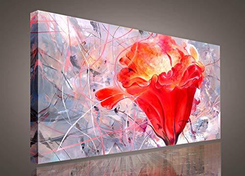 SkywardArt Red Flower Painting Blossom Still Life Abstract Canvas Wall Art Sunlight Framed Pictures