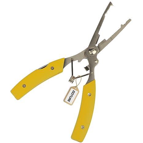 Goture Multi Función Acero inoxidable Pesca Alicates Tijeras curvas para cortar Braid Línea o quitar Ganchos
