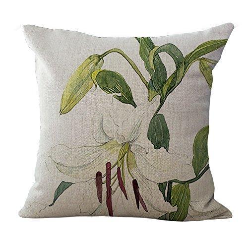ChezMax Cotton Linen Cushion Cover White Floral Pattern Square Decor Pillow Sham Decorative Throw Pillow Case 18