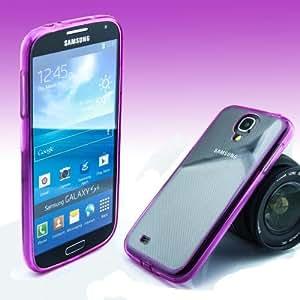 Rainbow Hybrid Case trasera Cover Trasera Carcasa Back Cover Teléfono Móvil Funda paragolpes elástica y plástico transparente y borde silicona en color para Samsung Galaxy J1en rosa