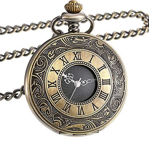 Vintage Roman Numerals Scale Quartz Pocket Watch with Chain for - Roman Watch White Numeral Pocket