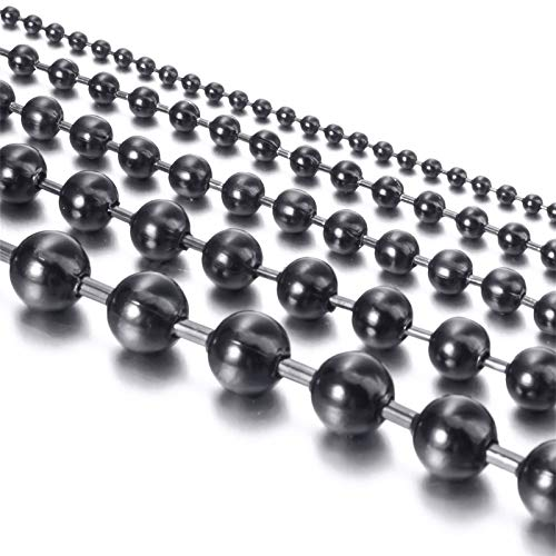 Elfasio Jewelry 8MM Stainless Steel Black Bead Ball Chain Necklace or Men Women 24 ()