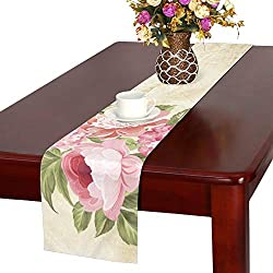 WUTMVING Flower Garland Invitation Card Card Template Table Runner, Kitchen Dining Table Runner 16 X 72 Inch for Dinner Parties, Events, Decor