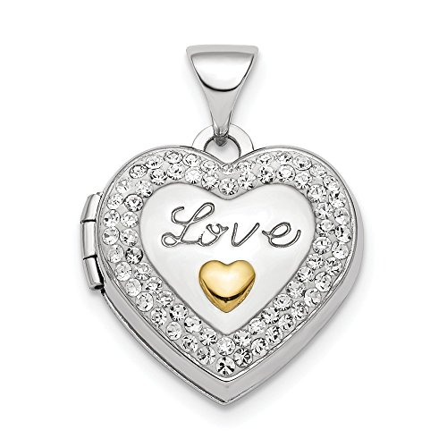 925 Sterling Silver Plate Gold Tone Preciosa Crystal Love Photo Pendant Charm Locket Chain Necklace That Holds Pictures Fine Jewelry Gifts For Women For Her