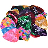 OPOCC Assorted Pearl Celluloid Guitar Picks-For Your Electric, Acoustic, or Bass Guitar. 0.46 mm, 0.71 mm and 0.96 mm,Various Colors (Light/Medium/Heavy, 48 pack)