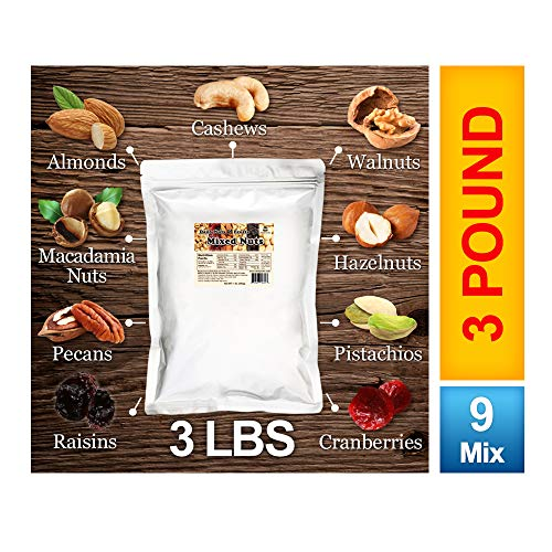 (Daily Super Mixed Nuts ( 7 TREE NUTS + 2 DRIED FRUITS, 3 LB) (Kosher Certified))