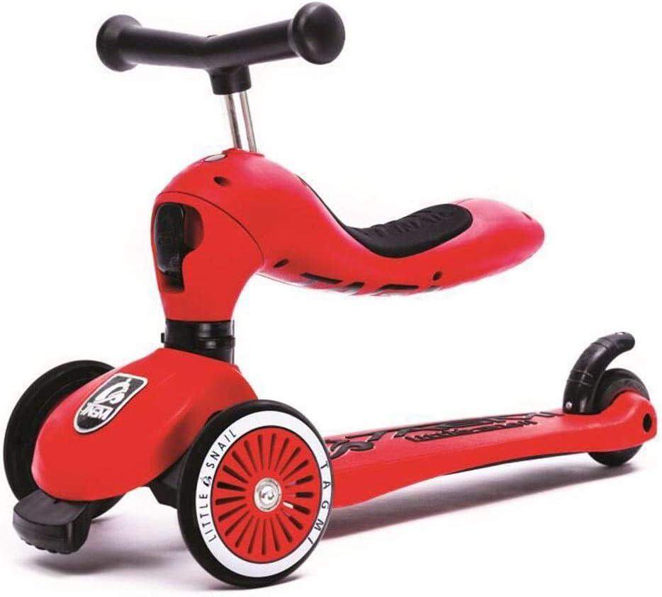 Meet now 子供のツーインワン3輪スクーター、高さ調節可能、持ち運びが簡単、子供の誕生日プレゼントに最適 品質保証 ( Color : 赤 )