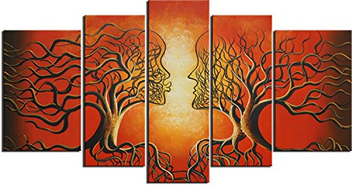 Ode-Rin 100% Hand Painted Wood Framed Wall Art 5 Panels Post
