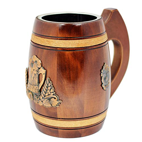 Handmade Beer Tankard - Stein Is Large And Heavy Duty - Crafted From Solid Oak - Amazing Craftsmanship and Quality Materials - Mug is Lined With Stainless And Features (2)