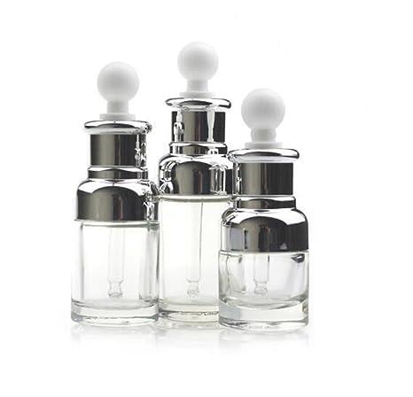 Eco ove - 1 botella de vidrio transparente de 20 ml vacía recargable para aromaterapia,