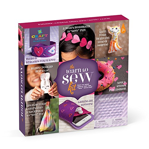 Craft-tastic – Learn to Sew Kit – Craft Kit Includes 7 Fun Projects to Teach Basic Sewing Stitches, Embroidery & More by Craft-tastic