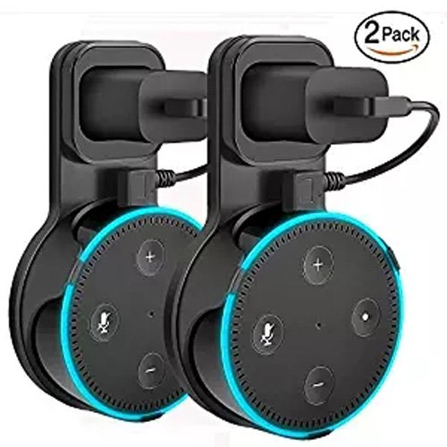 Bath Case Pack - Outlet Wall Mount Hanger Holder Stand for Echo Dot 2nd Generation (Short Cable Included) Plug in Kitchens, Bathroom and Bedroom Black Pack of 2