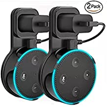 Outlet Wall Mount Hanger Holder Stand for Echo Dot 2nd Generation (Short Cable Included) Plug in Kitchens, Bathroom and Bedroom Black Pack of 2
