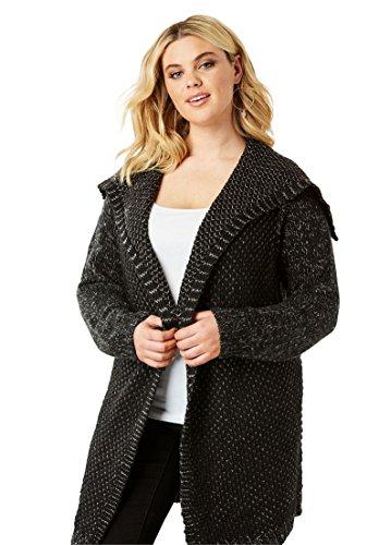 Roamans Womens Plus Size Chunky Tweed Cardigan