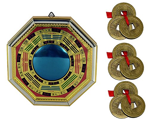 IndianStore4All Feng Shui Chinese Convex Vastu Bagua (Pa KUA) Octagon 6''x6'' Inches Protection Mirror for Front Wall/Door Decor Free Set of 3 Lucky Coin Set