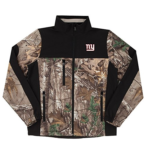 NFL New York Giants Hunter Colorblocked Softshell Jacket, Real Tree Camouflage, Large (Giants Stadium Replica)