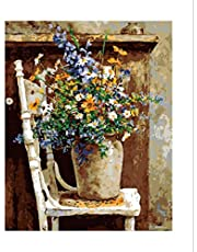 """CaptainCrafts New Paint by Numbers 16x20"""" for Adults, Kids LINEN Canvas - Wild Flowers Pots Chair"""