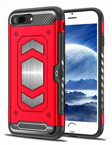 iPhone 7 Plus Case, iPhone 8 Plus Case, Teryei Military Grade Duty Premium Protective Cases Shock Magnetic Cell Phone Holder for car,Phone case iPhone 8 Plus case with Card Holder (Red)