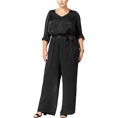 4cb887b8b42 Amazon.com  Love Squared Womens Plus Satin Wide Leg Jumpsuit Black 1X   Clothing