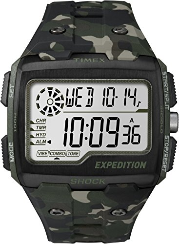 - Timex Men's Grid Shock LCD Dial with a Camo Resin Strap Watch TW4B02900
