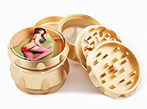 "Asian Girl Design Premium Grade Aluminum Tobacco,Herb Grinder -4Pcs Large (2.5"" Gold) # GLD-G121114-0017"