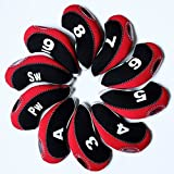 DBYAN Golf Club & Wedge Iron Covers Head covers set With Window Display, Number Tag,Neoprene Material Pack of 10,3-9/SW,PW,A, Black & Red