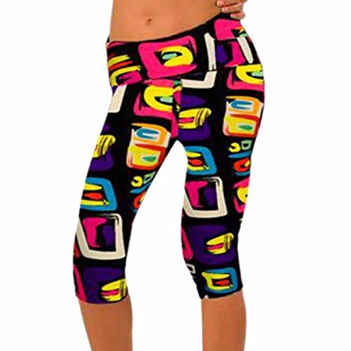 QIYUN.Z Las Mujeres De Cintura Alta Aptitud Del Yoga Pantalones De Deporte Estiramiento De La Impresion Recortada Polainas Foto En Color 24