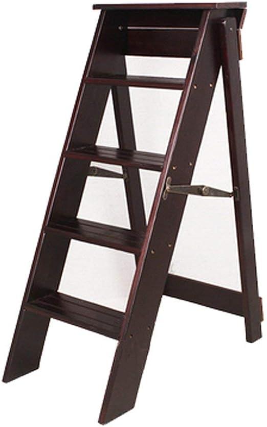 Taburete plegable del pino, estante manual inteligente de la escalera del cinco-paso de interior del dual-uso,Black: Amazon.es: Hogar