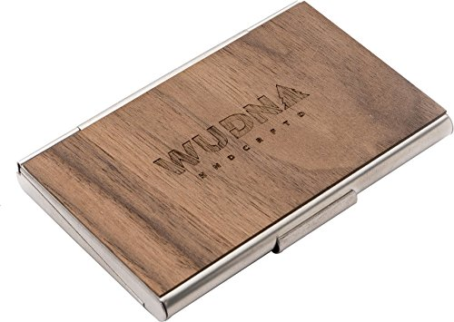 onal Business Card Case/Wallet, Premium Stainless Steel Bodied Card Holder Keeps Stunning Condition, Black Walnut ()