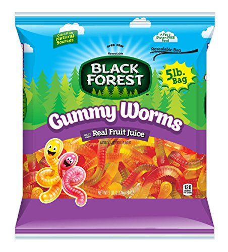 Black Forest Gummy Worms Candy, 5 Pound Bulk Candy - Gummi Forest Bears Black