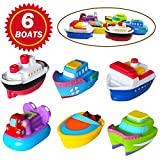 SIBOTER Boat Bath Toys for Boys and Girls Toddlers Kids Baby Bathtub Water Playing Floating Rubber Ship Toy for 1 Year Old, 2 Years, 3 Years